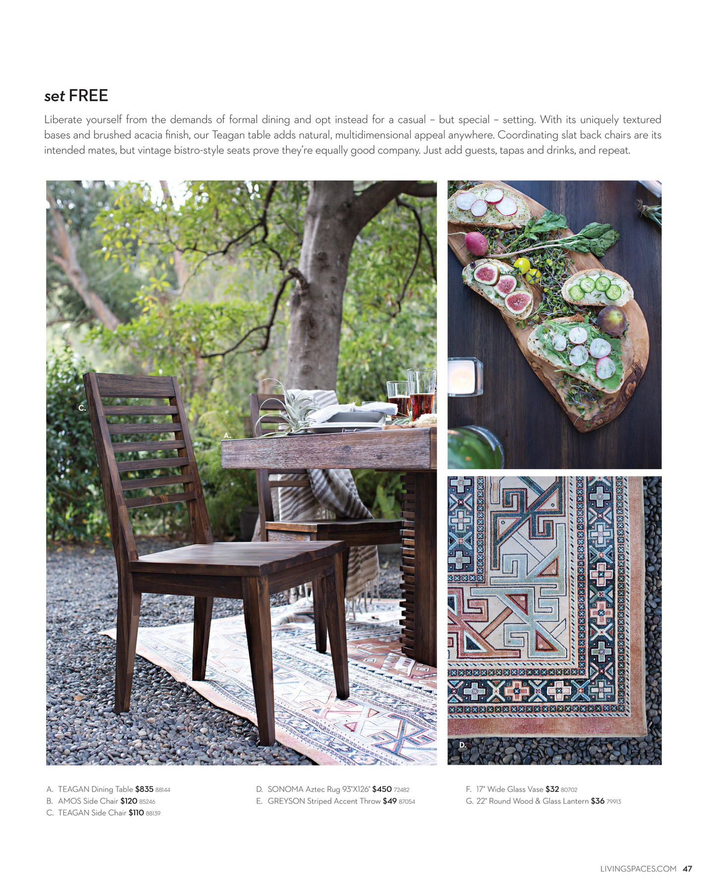 Living Spaces Dining Table Set Living Spaces Product Catalog February 2016 Page 46 47