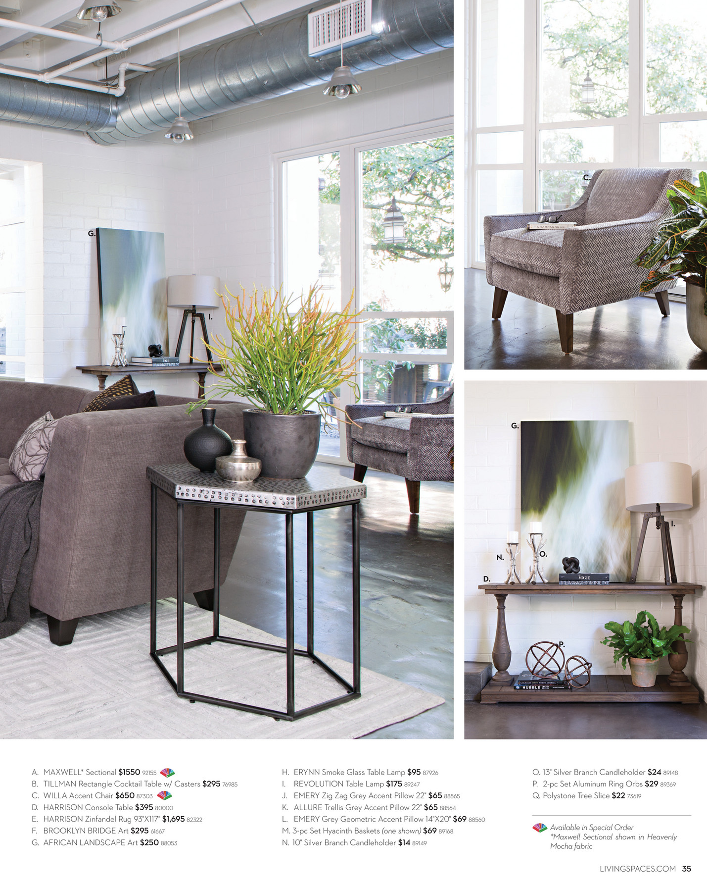 living spaces product catalog february 2016 page 34 35 available in special order maxwell sectional shown in heavenly mocha fabric livingspaces com 35