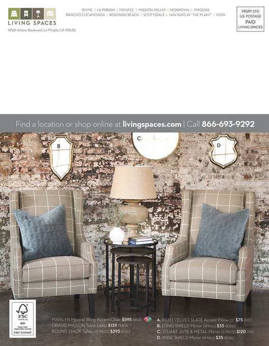 Living Spaces   Product Catalog   August 2014   Mirror Long Shield Small